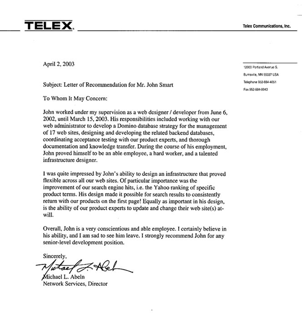 Telex recommendation letter for GreyDuck Technology